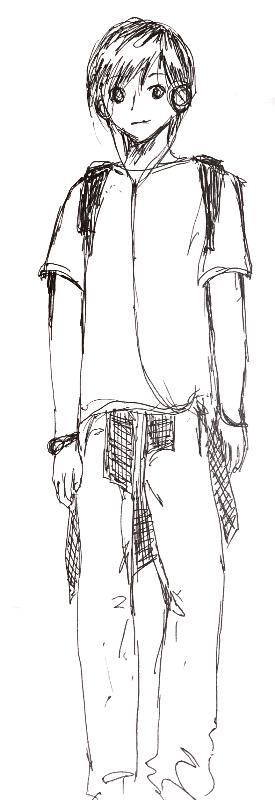 190523リュックの男の子|アナログ手描き