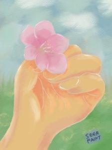 「桜をその手に」パステル調でアナログのようなあたたかさ