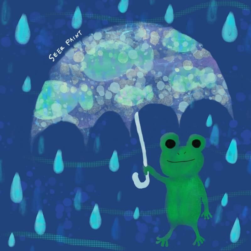 カエルのアンブレラ|Procreate
